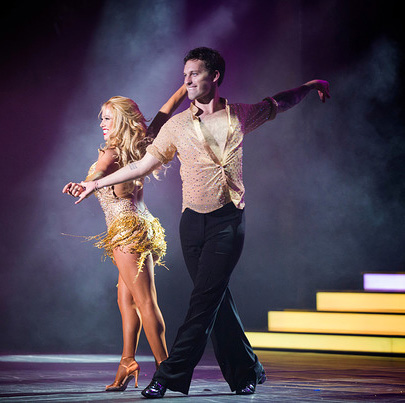 Pro Dancer Tristan MacManus and Celebrity Sabrina Bryan perform as part of Dancing with the Stars: At Sea. Photo courtesy of Holland America.