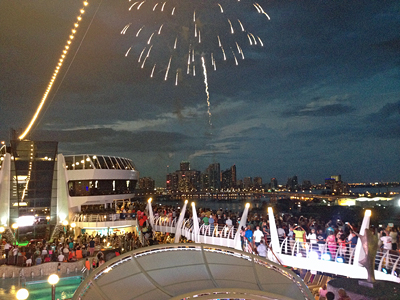 MSC had a fireworks display as we sailed away.