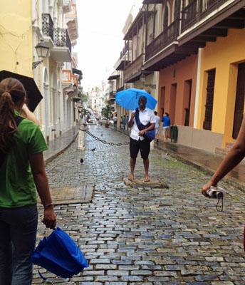 Cristo Street in San Juan, Puerto Rico.