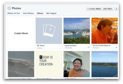 Photo albums in Facebook.