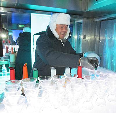 The Ice Bar on the Norwegian Getaway.