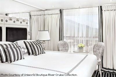 A stateroom on the S.S. Catherine. Photo courtesy of Uniworld Boutique River Cruise Collection.