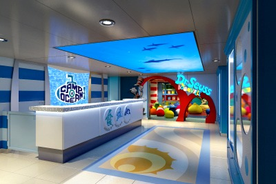 Camp Ocean reception area.  Rendering courtesy of Carnival Cruise Lines.