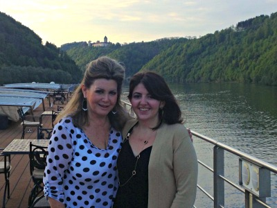 Mom and me sailing on the Danube.