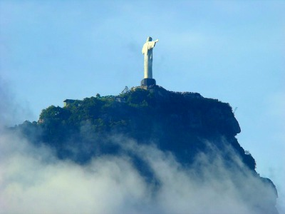 The Christ the Redeemer Statue sits high above Rio de Janeiro in Brazil.