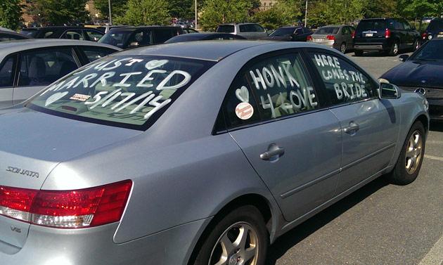 Her decorated getaway vehicle