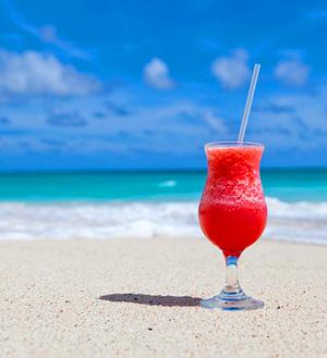 Tropical Drink on Caribbean Beach