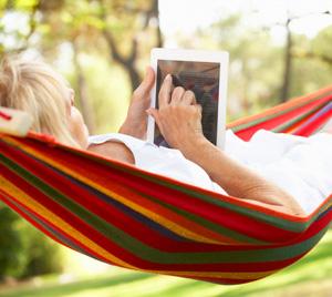 Reading a book on an iPad