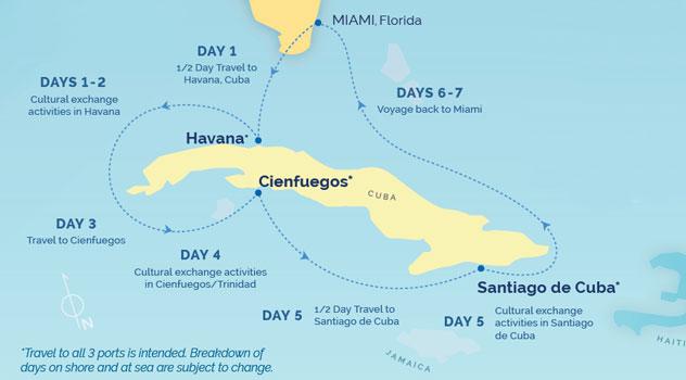 Map of Cuba Itinerary