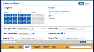 Advanced Search on The Cruise Web