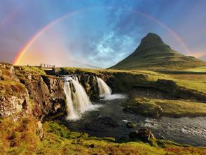 Iceland Waterfall and Rainbow
