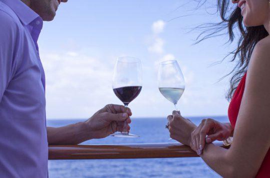 Norwegian Cruise Line-Couple Drinking Wine