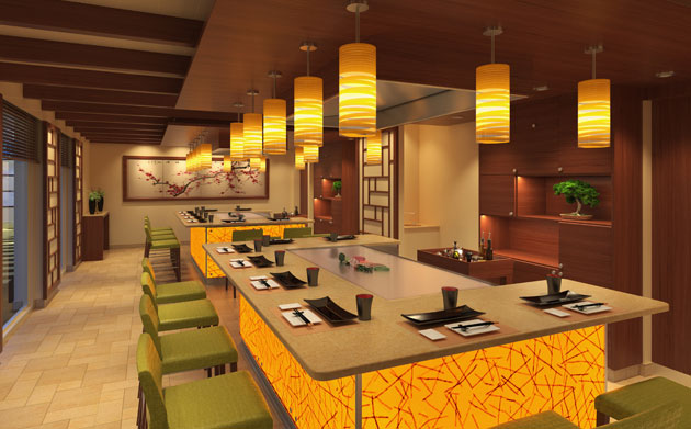 A rendering of the Teppanyaki restaurant on the Carnival Horizon.