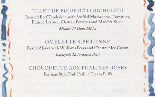A sample of the menu served at the Oceania Cruises' 15 year anniversary dinner.