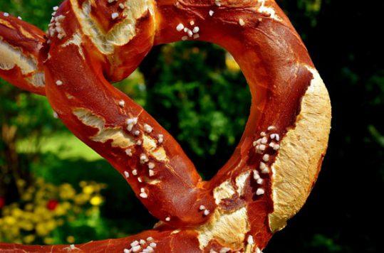 A huge bavarian pretzel topped with salt in on the menu for Oktoberfest.