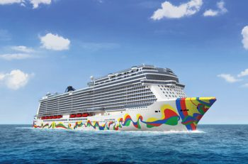 Render image of Norwegian Encore featuring bright splashes of color on the front and sides of the ship.