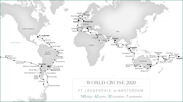 Silversea 2020 World Cruise Map