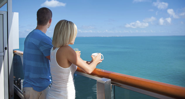 couple on cruise ship balcony