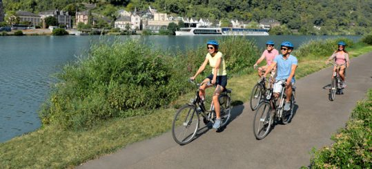 People biking along the Rhine