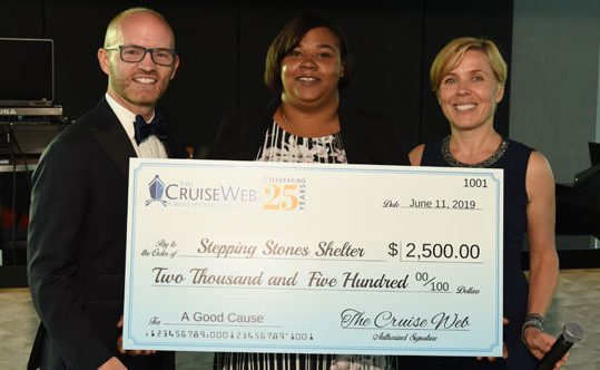The Cruise Web's Donation for Stepping Stones Shelter