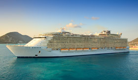 Big cruise ship in the Caribbean