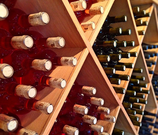 A wall-mounted wine display