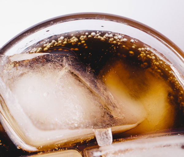 An icy glass of soda