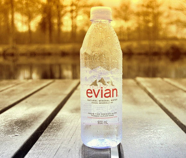 Refreshing Evian bottled water