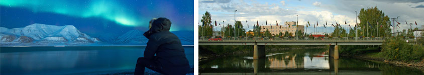Fairbanks cruisetour with norther lights and city bridge.